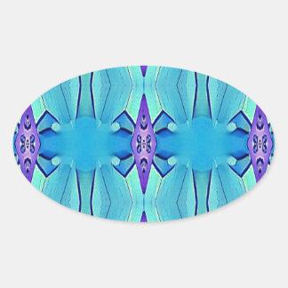 Adesivo Oval Teste padrão feminino do Lilac azul Azure bonito
