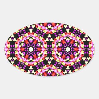 Adesivo Oval Teste padrão floral minúsculo