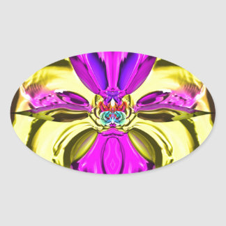 Adesivo Oval Teste padrão florescente legal do abstrato do