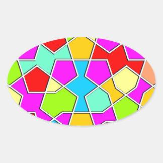 Adesivo Oval teste padrão geométrico islâmico