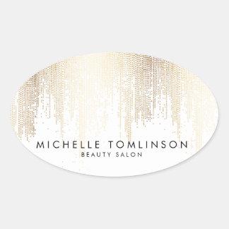 Adesivo Oval Teste padrão Luxe da chuva dos confetes do ouro do