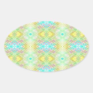 Adesivo Oval Teste padrão tribal Pastel azul do limão bonito do