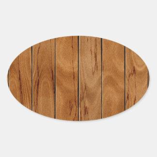 Adesivo Oval Textura de madeira do assoalho do marrom escuro