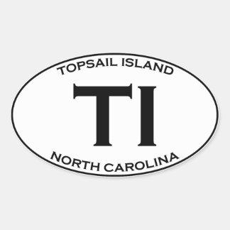 Adesivo Oval TI - ilha North Carolina de Topsail