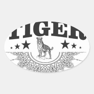 Adesivo Oval tigre feliz