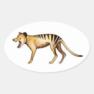 Adesivo Oval Tigre tasmaniano, Thylacine