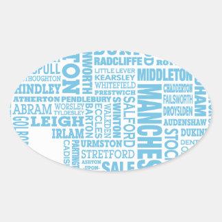 Adesivo Oval Tipo azul mapa de maior Manchester