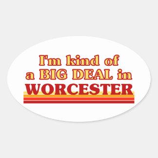 Adesivo Oval Tipo de I´m de uma grande coisa em Worcester