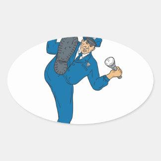 Adesivo Oval Tocha da lanterna elétrica da arma do polícia que