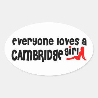 Adesivo Oval Todos ama uma menina de Cambridge