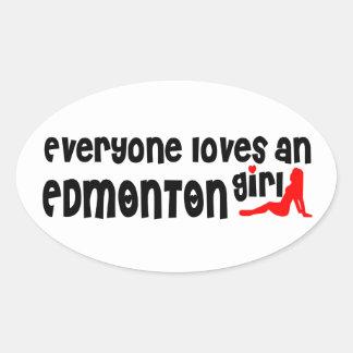 Adesivo Oval Todos ama uma menina de Edmonton