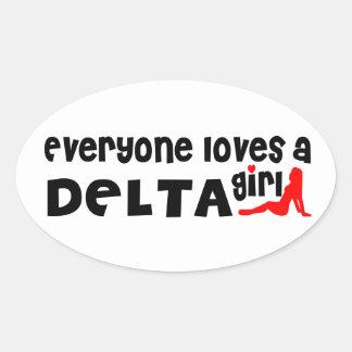 Adesivo Oval Todos ama uma menina do delta