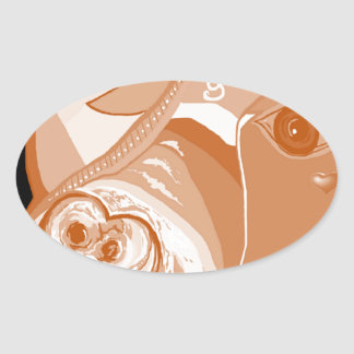 Adesivo Oval Tons do Sepia do pitbull