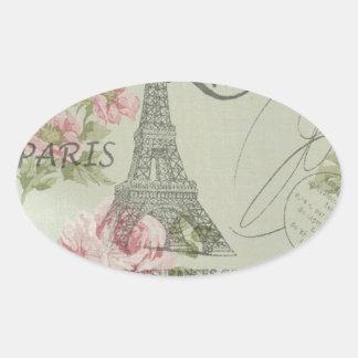 Adesivo Oval torre Eiffel botânica floral cor-de-rosa de Paris