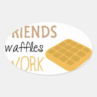 Adesivo Oval Trabalho dos Waffles dos amigos