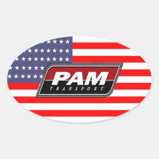 Adesivo Oval Transporte americano do PAM do orgulho