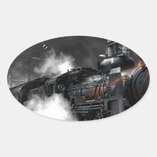 Adesivo Oval Trem do vapor