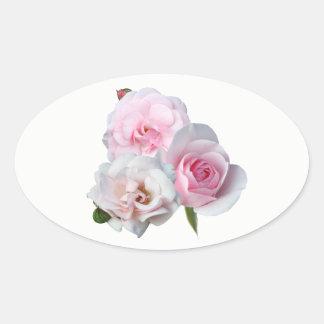 Adesivo Oval Três rosas cor-de-rosa