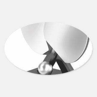Adesivo Oval Troféu de prata do ténis de mesa