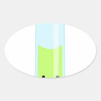 Adesivo Oval Tubo de ensaio Geeky do kawaii