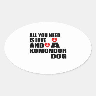 Adesivo Oval Tudo você precisa o design dos cães do amor