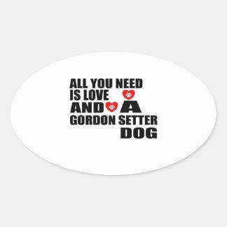 Adesivo Oval Tudo você precisa o design dos cães do SETTER de
