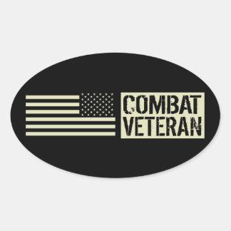 Adesivo Oval U.S. Forças armadas: Veterano do combate (bandeira