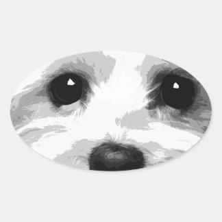 Adesivo Oval Um maltês preto e branco