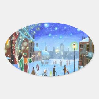 Adesivo Oval Uma cena da rua do inverno de Scrooge da canção de