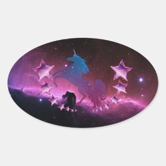 Adesivo Oval Unicórnio com estrelas