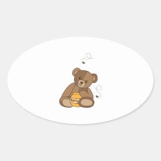 Adesivo Oval Urso e mel de ursinho