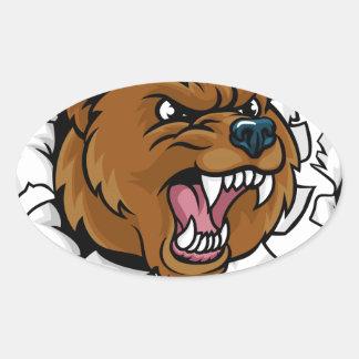 Adesivo Oval Urso que guardara a bola de boliche que quebra o