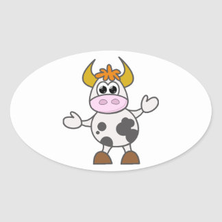 Adesivo Oval Vaca confundida