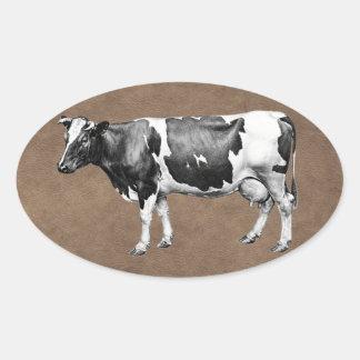 Adesivo Oval Vaca de leiteria