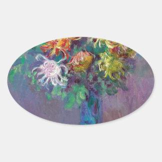 Adesivo Oval Vaso dos crisântemos Claude Monet