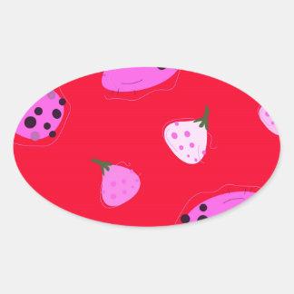 Adesivo Oval Vermelho selvagem dos figos do design