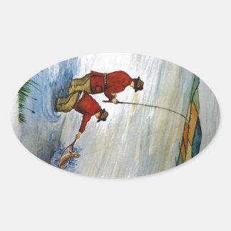 Adesivo Oval Viagem de pesca do pai e do filho