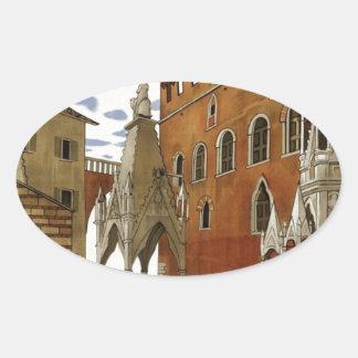 Adesivo Oval Viagem de Verona do vintage