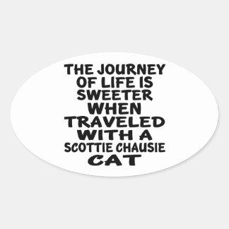 Adesivo Oval Viajado com o gato do chausie do Scottie
