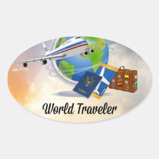 Adesivo Oval Viajante de mundo, design 2