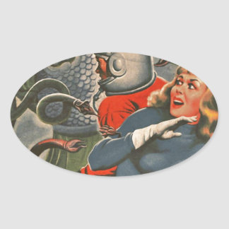 Adesivo Oval Viajantes do espaço atacados pelo monstro do