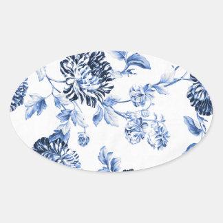 Adesivo Oval Vintage azul Toile floral No.5 da pervinca
