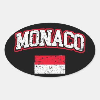 Adesivo Oval Vintage da bandeira de Monaco