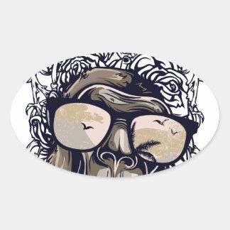 Adesivo Oval vintage do macaco com glasess