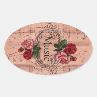 Adesivo Oval Vintage floral para o amor da música