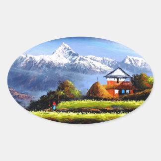 Adesivo Oval Vista panorâmica da montanha bonita de Everest