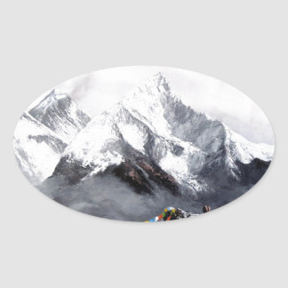 Adesivo Oval Vista panorâmica da montanha de Everest