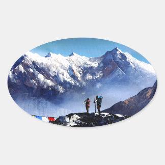 Adesivo Oval Vista panorâmica da montanha máxima de Ama Dablam