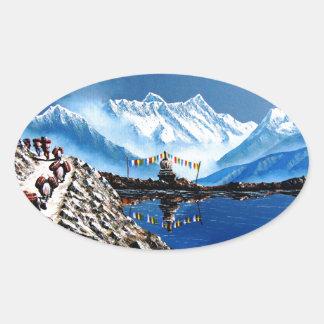 Adesivo Oval Vista panorâmica da montanha Nepal de Annapurna