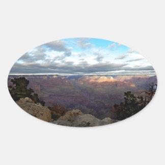 Adesivo Oval Vista panorâmica do Grand Canyon